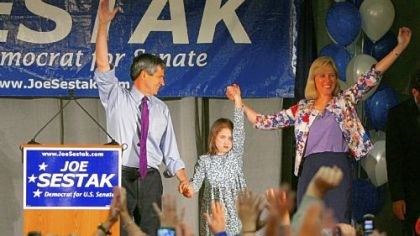 Sestak victory Rep. Joe Sestak with his daughter, Alex, and his wife, Susan, speaks to a primary watch event crowd in Wayne, Pa.