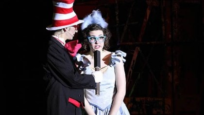 Seussical-4 The Cat in the Hat, played by Gabe DeRose-Elbaum, and Gertrude McFuzz, played by Abby Rogers.