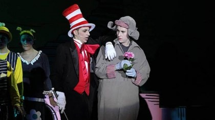 Seussical-5 Gabe DeRose-Elbaum as the Cat in the Hat and Mark Klemencic as Horton.