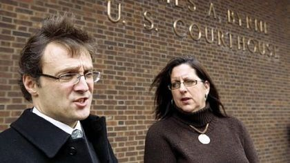 """Sexting"" case Witold J. Walczak, legal director of the ACLU of Pennsylvania, and MaryJo Miller, who is challenging the right of county prosecutors to file criminal charges against her daughter in a ""sexting"" case, speak yesterday outside the U.S. Courthouse in Philadelphia."