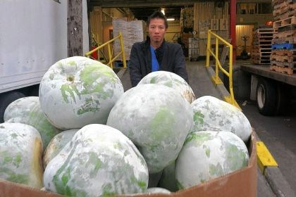 SFO produce A worker unloads melons at the San Francisco Wholesale Produce Market.