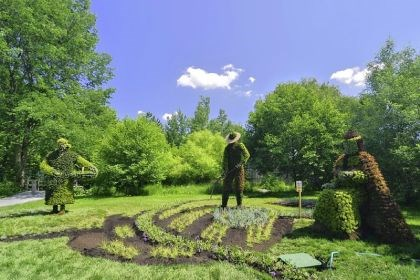 Sharing the Riches of the Land Sharing the Riches of the Land was created by staff at the Edmundston Botanical Garden in New Brunswick, Canada, in partnership with the Madawaska Maliseet, an indigenous aboriginal community.