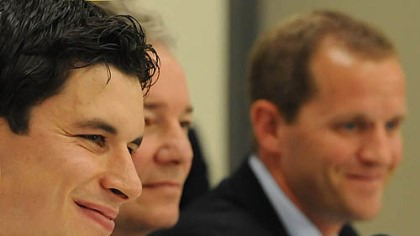 Sidney Crosby Sidney Crosby, left, talks to reporters accompanied by Penguins General Manager Ray Shero, center, and Director of the UPMC Sports Medicine Concussion Program Dr. Michael Collins.