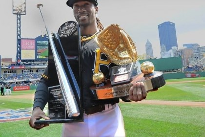 silver Andrew McCutchen made quite a haul in pregame ceremonies Monday at PNC Park. He received his Silver Slugger and Gold Glove awards from 2012 for the best hitting and fielding center fielder, respectively, in the National League.