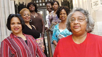 Sisters That Are Readers Seven members of the monthly reading group Sisters That Are Readers (STARS) gather at the Homewood Library. Clockwise from bottom left, are Nichole Jordan, M. Gayle Moss, Mercedes Taylor, Velma Harris, Denice Coker, Vivian Shelton and Donna Stilo.