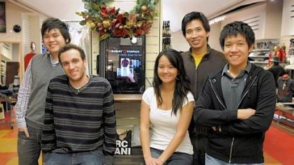Smart.Mirror crew Carnegie Mellon students, Kevin Chia, Philip Croul, Carolyn Fu, Jonathan Ma and Vincent Sethiwan invented a Smart.Mirror to help coordinate clothing in a store. This computer is in the Charles Spiegel for Men store in Squirrel Hill.