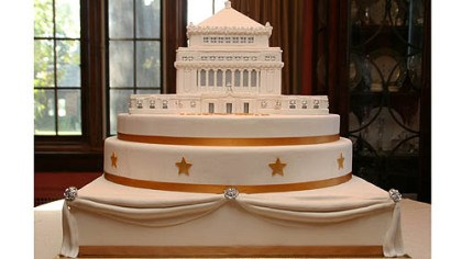 Soldiers & Sailors Memorial Hall This cake depicting Soldiers & Sailors Memorial Hall in Oakland was created == using actual blueprints -- by Nancy Becker, left, of Madison Ave Specialty Cakes.