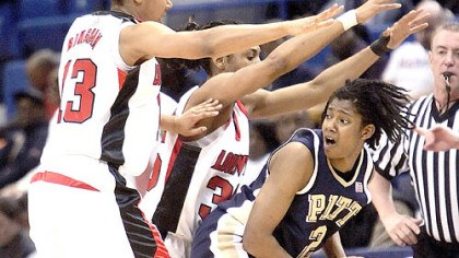 Sophronia Sallard, Candyce Bingham and Angel McCoughtry Louisville's Candyce Bingham, left ,and Angel McCoughtry, center, crowd Pitt's Sophronia Sallard in the first half of tonight's Big East Conference women's basketball tournament semifinal in Hartford, Conn.
