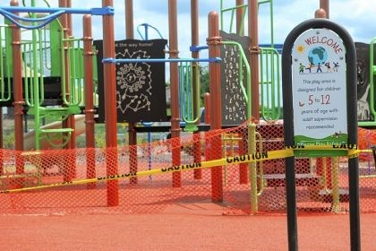 South Fayette 4 The playground includes a rope climbing station, four-square blocks and spongy surfaces to allow for safe climbing.