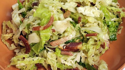 "Speck Speck gives a kick to a salad made with Savoy cabbage and red-wine vinegar. Both dishes are included in Lidia Bastianich's new book ""Lidia Cooks From the Heart of Italy: A Feast of 175 Regional recipes."