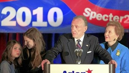 Specter concedes Sen. Arlen Specter, D-Pa., concedes the primary race, addressing supporters gathered in Philadelphia last night. At Specter's side is his wife Joan, right, and granddaughters Perri Specter, left and Silvi Specter.