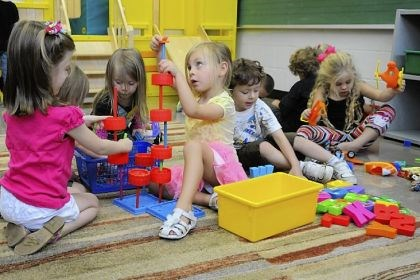 St. Malachy School Madelyn Wolsko and her classmates play with building blocks during their preschool class at St. Malachy School in Kennedy.