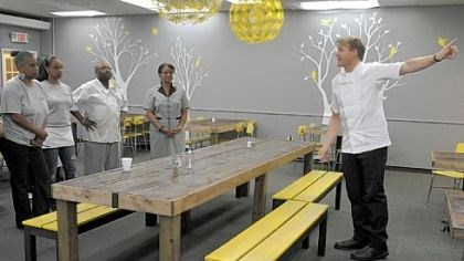 Staff of Miss Jean's Southern Cuisine Chef Gordon Ramsay speaks to the staff of Miss Jean's Southern Cuisine in Wilkinsburg during a new episode of 'Kitchen Nightmares.'