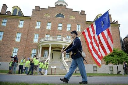 Stan Zellers Stan Zellers, of Lewisburg, Pa., marches in front of the Seminary Ridge Museum Monday in Gettysburg. Mr. Zellers said he was re-enacting an 8-mile march his ancestor, John Kline with the 142nd Pennsylvania, marched 150 years ago.