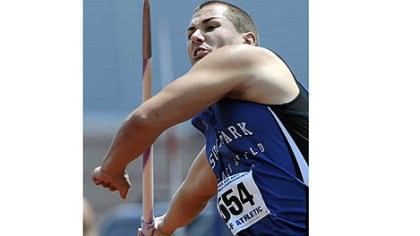 "Stanley South Park's Bill Stanley breaks the javelin national record with a throw of 246'9"" on his first throw at the PIAA track and field championships at Shippensburg University Saturday."
