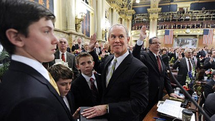 State House Majority Leader Mike Turzai State House Majority Leader Mike Turzai, R-Bradford Woods, middle, is sworn into office Tuesday with a Bible held by his sons -- from left, Andrew, Matthew and Stephen -- on the floor of the House in Harrisburg.
