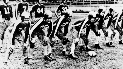 "Steagles This 64-year-old photograph of members of the football team called the ""Steagles"" was made when World War II was at its height and American sports were at their deepest depths. Because of the wartime scarcity of players, the team was formed with a combination of Pittsburgh Steelers and Philadelphia Eagles, this the ""Steagles."""