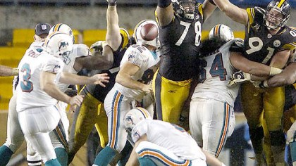 Steelers' Max Starks Steelers' Max Starks (78) blocks a field goal against the Dolphins last season.