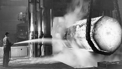 Steelworker at Homestead Works Union manufacturing employees helped build the middle class in America. Here, a steelworker at the Homestead Works sprays a glowing ingot during war production in 1943.