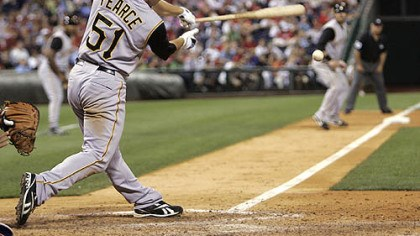 Steve Pearce's 12th inning RBI double Steve Pearce connects for an RBI double in the 12th inning of a baseball game with the Philadelphia Phillies last night. Pearce drove in Ryan Doumit and the Pirates won 2-0.
