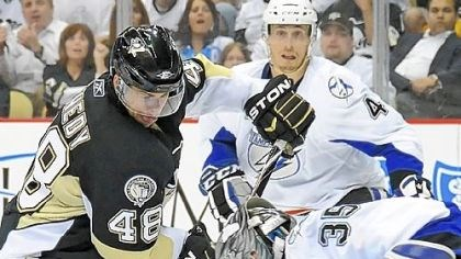 Stopped Tyler Kennedy is stopped by Tampa Bays goaltender Dwayne Roloson in Game 7 Wednesday at Consol Energy Center. The inability to consistently get pucks past Roloson, especially on the power play, ultimately knocked the Penguins out of the Stanley Cup playoffs in the first round.