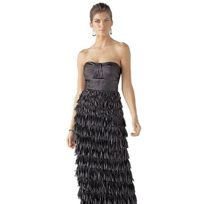 Strapless chiffon plumed gown Strapless chiffon plumed gown, $300.