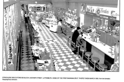 Strickler's Drug Store Strickler's Drug Store, Ligonier Street (home of the first banana split), March 1955.