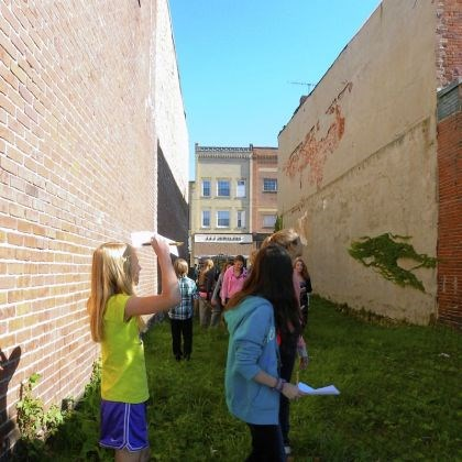 Students explore Students explore the vacant lot at 510 Clay Ave. in Jeannette, as part of the Architectural Design Challenge, sponsored by the Pittsburgh History & Landmarks Foundation.
