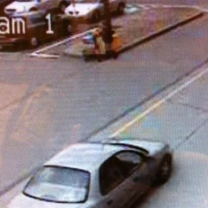 Suspect car Surveillance footage of the four-door sedan the suspect is believed to have been driving.
