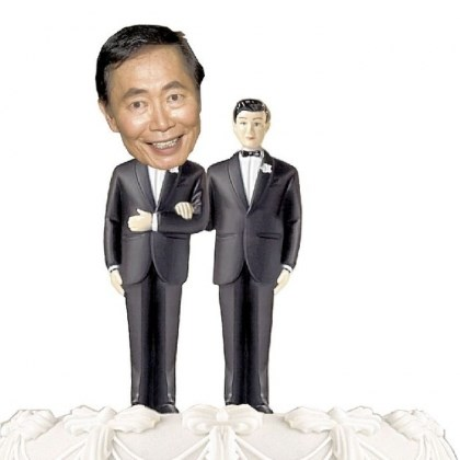 takei on a cake George Takei has been an outspoken supporter of gay marriage rights. He and Brad Altman were married in 2008, and were the first same-sex couple to apply for a marriage license in West Hollywood.