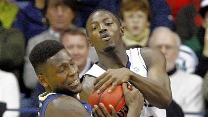 Talib Zanna Pitt's Talib Zanna wrestles with Notre Dame's Jerian Grant for a loose ball in the second half Tuesday night. Zanna led the Panthers with 13 points and 12 rebounds.