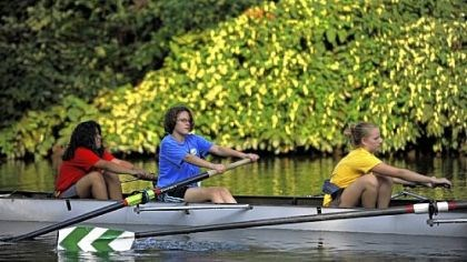 Taylor Allderdice novice rowers Taylor Allderdice novice rowers from left Genesis Bola, 15, Mara Greenberg, 14, and Chelsea Biefeld, 13, practice on the Allegheny River.