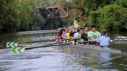 Taylor Allderdice novice team The Taylor Allderdice novice team paddles along the back channel of the Allegheny River at Washington's Landing during a practice for the Head of the Ohio Regatta on Oct. 3.