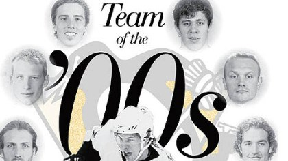 Team of the '00s Clockwise from bottom, Sidney Crosby, Brooks Orpik, Jordan Staal, Marc-Andre Fleury, Evgeni Malkin, Sergei Gonchar and Ryan Malone.