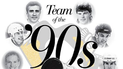 Team of the '90s Clockwise from bottom, Mario Lemieux with the first Cup in 1991, Larry Murphy, Ulf Samuelsson, Ron Francis, Jaromir Jagr, Kevin Stevens and Bob Errey. INSET: Darius Kasparaitis.