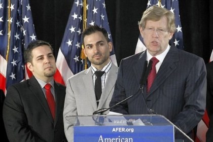 Ted Olson Ted Olson, right, lead Co-Counsel for the American Foundation for Equal Rights, seen with Proposition 8 paintiffs, Jeff Zarrillo, left, and Paul Katami, comments on Feb. 7, 2012, during a conference in Los Angeles.