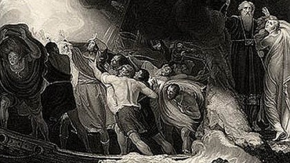 "Tempest The shipwreck in Act I of ""The Tempest"" in a 1797 engraving based on a painting by George Romney."