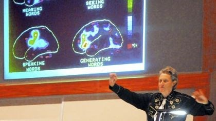 Temple Grandin Temple Grandin, noted advocate for autistic people, speaks to an audience at Western Psychiatric Institute and Clinic of UPMC Wednesday on her sensory based world. She's a doctor of animal science and professor at Colorado State University.