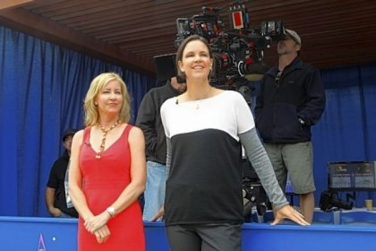 "Tennis greats on ""CSI"" Tennis greats Chris Evert, left, and Lindsay Davenport guest star as themselves on Wednesday night's episode of ""CSI: Crime Scene Investigation."""