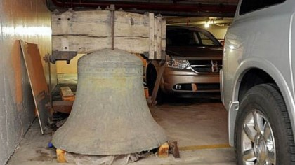 The 300-year-old bell in the Liberty Tower From May 2009: The 300-year-old bell in the Liberty Tower garage under the Westin Convention Center Hotel.