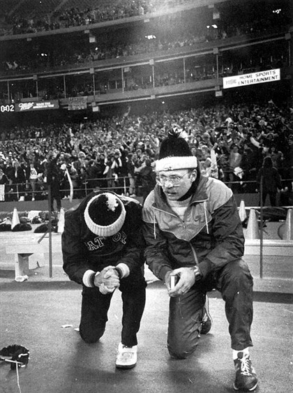 The Antimarinos Some prayers are answered: Gateway coach Pete Antimarino, left, and his son, Pete Jr., pray for the Gators to stop North Hills' two-point conversion attempt in the 1986 title game. Gateway's Todd Washington intercepted the conversion pass as the Gators upset the nation's top-ranked team, 7-6.