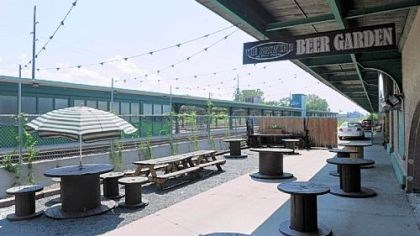 The beer garden at The Brewerie at Union Station in Erie The beer garden at The Brewerie at Union Station in Erie.