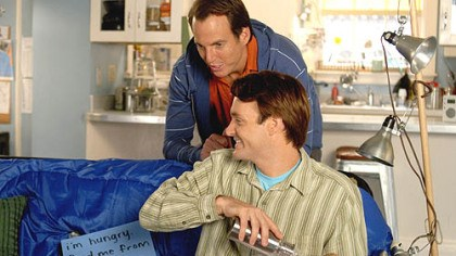 """The Brothers Solomon"" Will Arnett (top) and Will Forte are in a race to procreate in the shallow comedy ""The Brothers Solomon."""