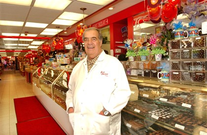 The Candy Man Frank Sarris, founder and owner of Sarris Candies in Canonsburg, in his store in 2006. Mr. Sarris died Monday night in his home.