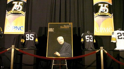 The Chief Art Rooney Sr.'s portrait is displayed at the Steelers 75th Season Gala at the David L. Lawrence Convention Center.