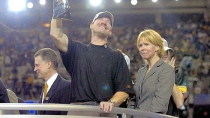 The Cowhers celebrate Steelers coach Bill Cowher celebrates beside his wife Kaye after beating Seattle for the Super Bowl title.