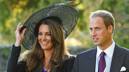 The engaged couple Kate Middleton and Britain's Prince William leave the wedding of their friends Harry Mead and Rosie Bradford in October.