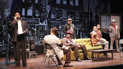 "The ""Jitney"" cast Kennedy Center production of August Wilson's ""Jitney."" (l-r) Hassan El-Amin as Booster, John Beasley as Turnbo, Afemo Omilami as Shealy, Eugene Lee as Doub, Anthony Mackie as Youngblood, Roslyn Ruff as Rena, Montae Russell as Philmore."