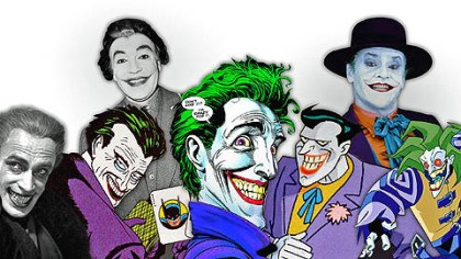 "The Joker From left, The Joker's inspiration: 1928's ""The Man Who Laughs (with Conrad Veidt), and many iterations in comics, on live action TV (with Cesar Romero), in film (with Jack Nicholson) and in animation."
