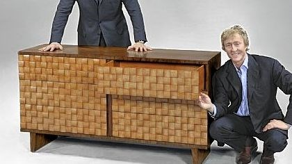The Keno brothers with their checkerboard sideboard The Keno brothers with their checkerboard sideboard.